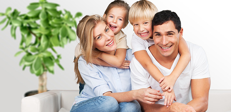 Healthy family regularly visit the dentist