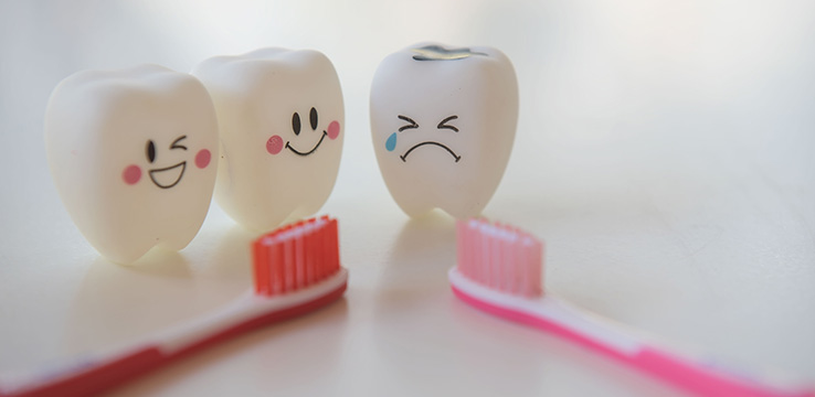 3 plastic teeth with characters drawn on them and 2 tooth brushes.